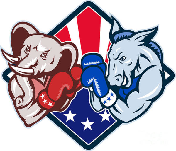 Election Wall Art - Digital Art - Democrat Donkey Republican Elephant Mascot Boxing by Aloysius Patrimonio