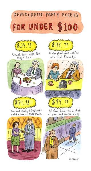 Democratic Party Drawing - Democratic Party Access For Under $100 by Roz Chast