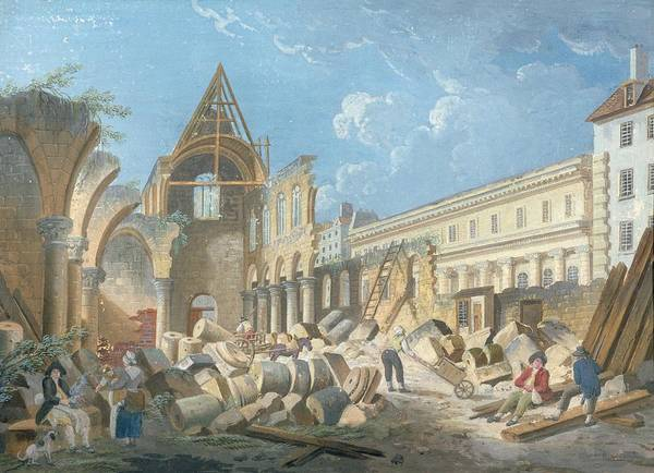 Founded Photograph - Demolition Of The Couvent Des Cordeliers, C.1802 Gouache On Paper by Pierre Antoine Demachy
