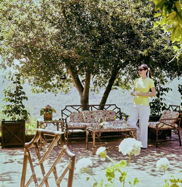 Sonoma Photograph - Denise Hale On Her Patio by Horst P. Horst