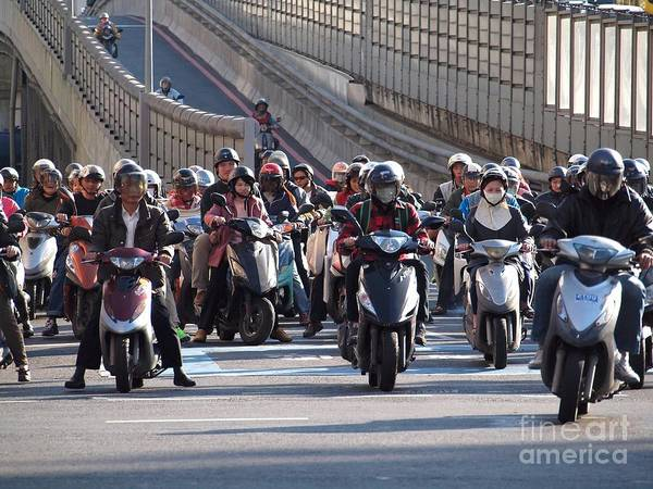 Dense Scooter Traffic In Taiwan Art Print