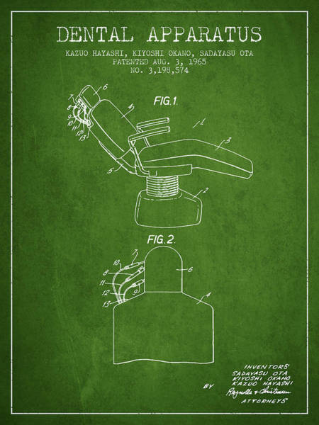 Chair Digital Art - Dental Apparatus Patent From 1965 - Green by Aged Pixel