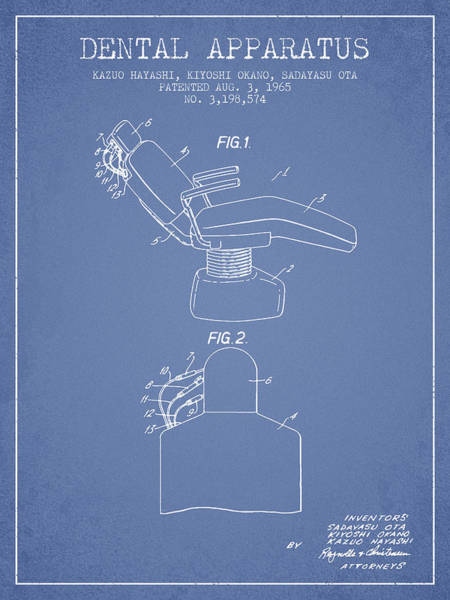 Chair Digital Art - Dental Apparatus Patent From 1965 - Light Blue by Aged Pixel