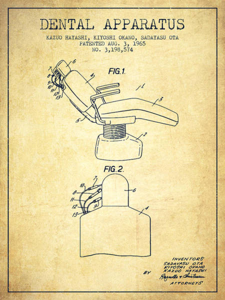 Chair Digital Art - Dental Apparatus Patent From 1965 - Vintage by Aged Pixel