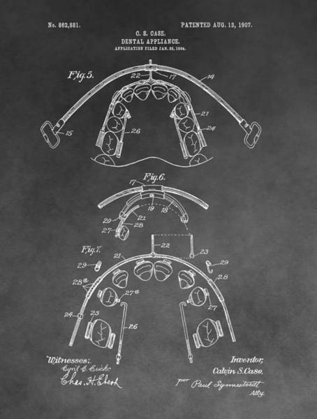 Mixed Media - Dental Braces Patent by Dan Sproul