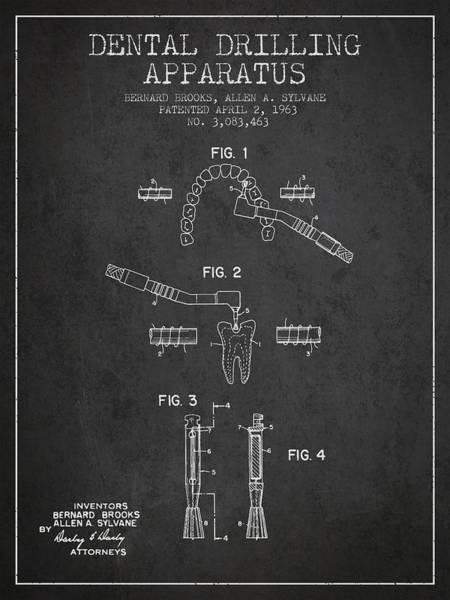 Drill Wall Art - Digital Art - Dental Drilling Apparatus Patent From 1963 - Dark by Aged Pixel
