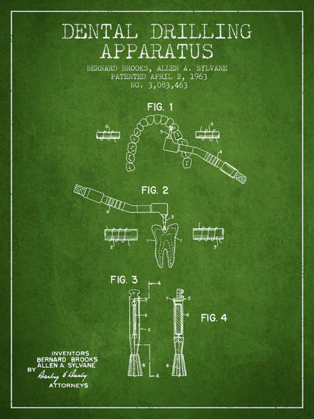 Drill Wall Art - Digital Art - Dental Drilling Apparatus Patent From 1963 - Green by Aged Pixel