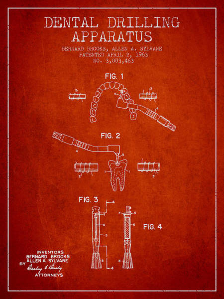Drill Wall Art - Digital Art - Dental Drilling Apparatus Patent From 1963 - Red by Aged Pixel