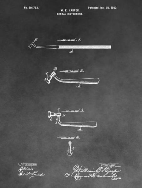 Drawing - Dental Instrument Patent by Dan Sproul