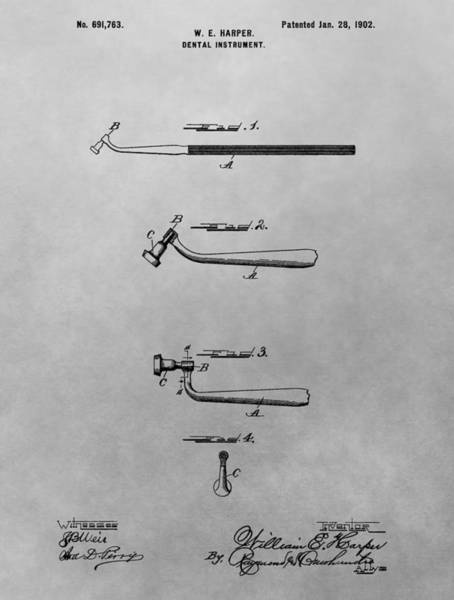 Drawing - Dental Instrument Patent Drawing by Dan Sproul