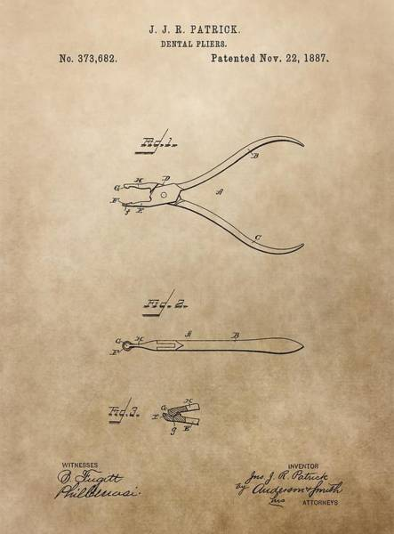 Mixed Media - Dental Pliers Patent Design by Dan Sproul