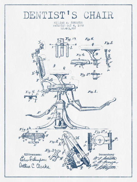 Chair Digital Art - Dentist Chair Patent Drawing From 1892 - Blue Ink by Aged Pixel