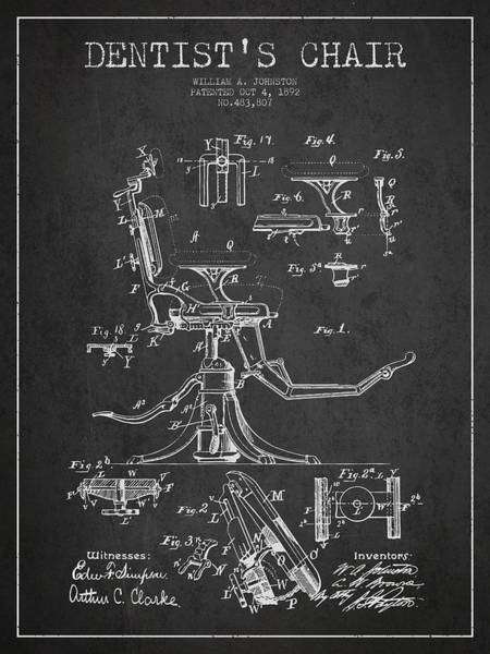 Chair Digital Art - Dentist Chair Patent Drawing From 1892 - Dark by Aged Pixel