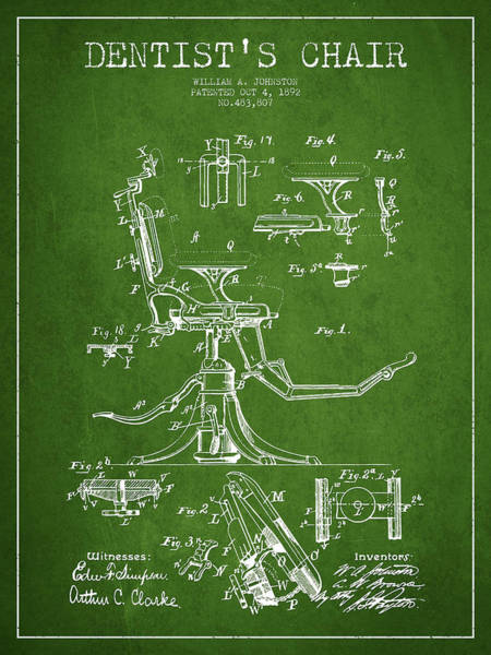 Chair Digital Art - Dentist Chair Patent Drawing From 1892 - Green by Aged Pixel
