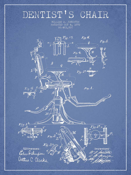 Chair Digital Art - Dentist Chair Patent Drawing From 1892 - Light Blue by Aged Pixel