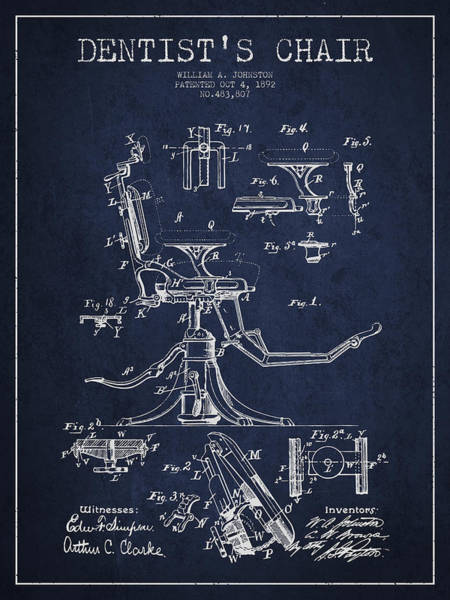 Chair Digital Art - Dentist Chair Patent Drawing From 1892 - Navy Blue by Aged Pixel