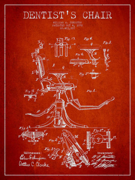 Chair Digital Art - Dentist Chair Patent Drawing From 1892 - Red by Aged Pixel
