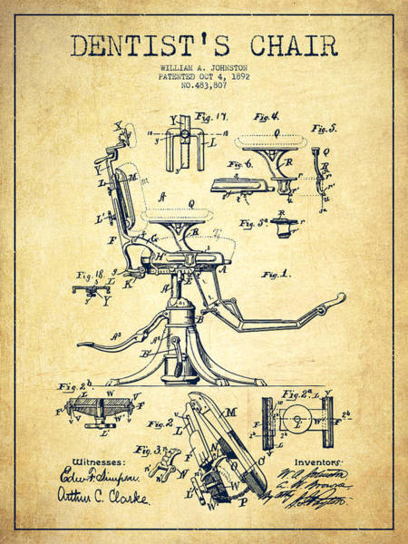 Chair Digital Art - Dentist Chair Patent Drawing From 1892 - Vintage by Aged Pixel