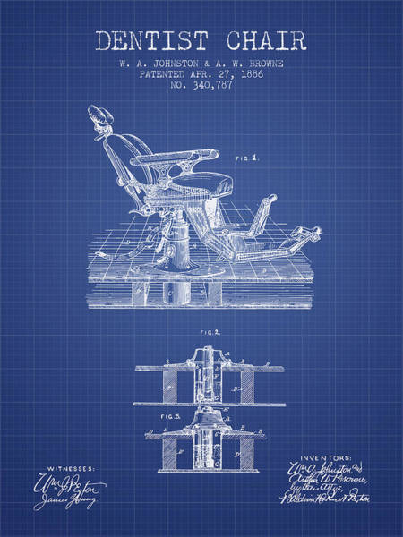 Chair Digital Art - Dentist Chair Patent From 1886 -  Blueprint by Aged Pixel