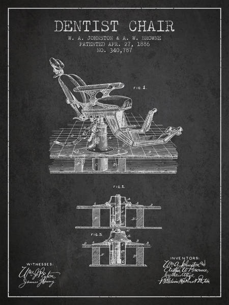 Chair Digital Art - Dentist Chair Patent From 1886 - Dark by Aged Pixel