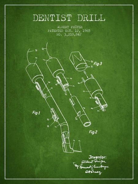 Drill Wall Art - Digital Art - Dentist Drill Patent From 1965 - Green by Aged Pixel