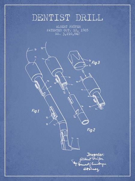 Drill Wall Art - Digital Art - Dentist Drill Patent From 1965 - Light Blue by Aged Pixel