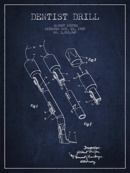 Drill Wall Art - Digital Art - Dentist Drill Patent From 1965 - Navy Blue by Aged Pixel
