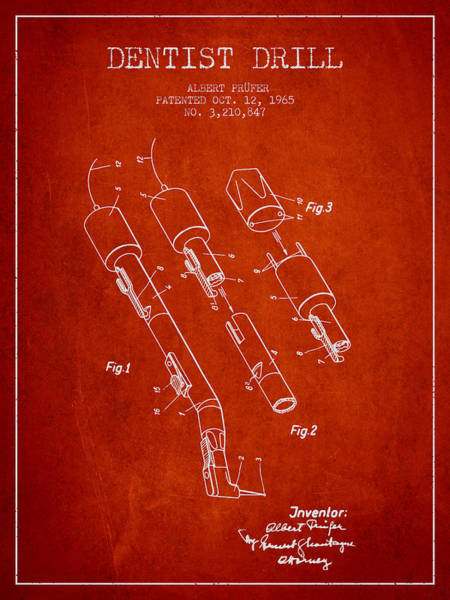 Drill Wall Art - Digital Art - Dentist Drill Patent From 1965 - Red by Aged Pixel