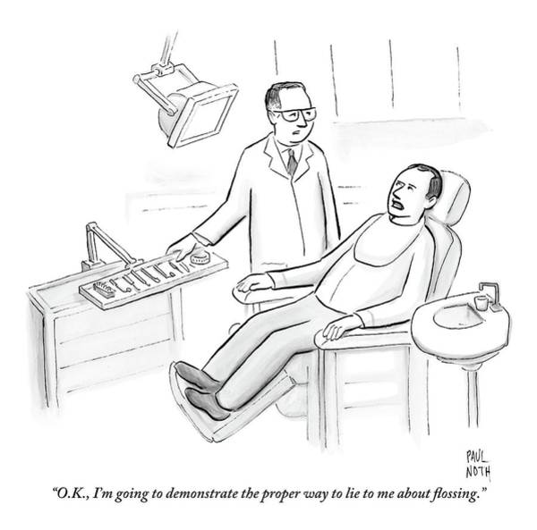 Demonstrating Wall Art - Drawing - Dentist Speaks To Man In Dentist Office by Paul Noth