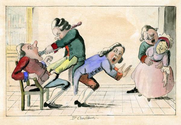 Bracing Photograph - Dentistry Caricature, 18th Century by Science Photo Library