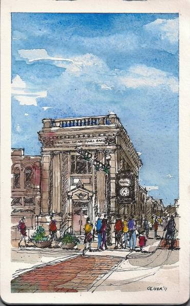 Pen And Ink Mixed Media - Denton County National Bank by Tim Oliver