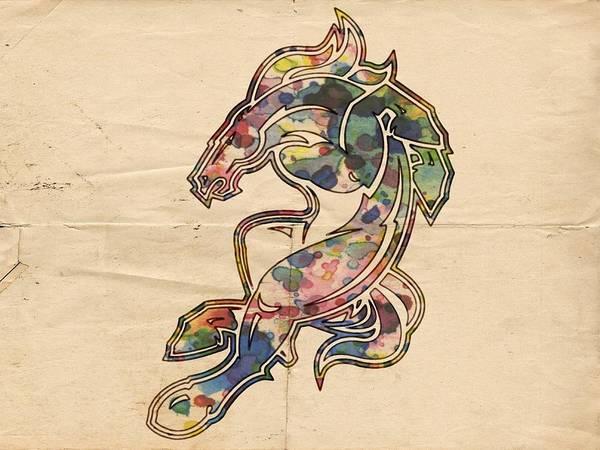 Painting - Denver Broncos Logo Poster by Florian Rodarte