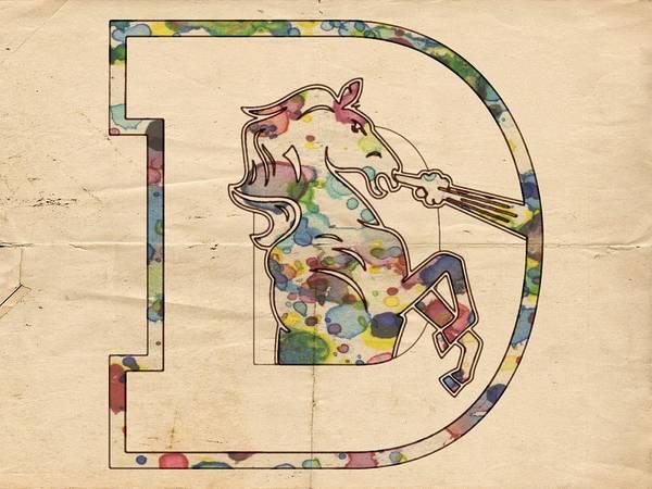 Painting - Denver Broncos Vintage Art by Florian Rodarte