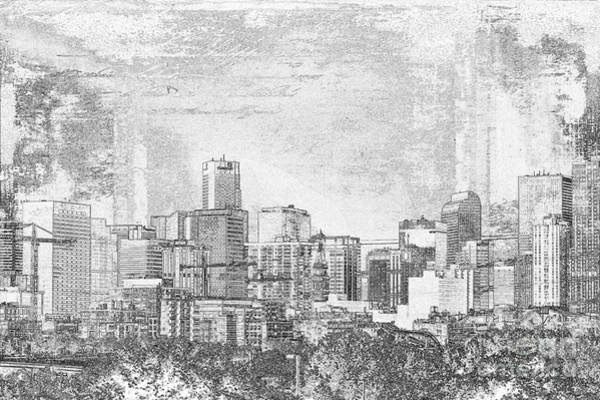 Crazy Mountains Painting - Denver City In Black And White by Janice Pariza