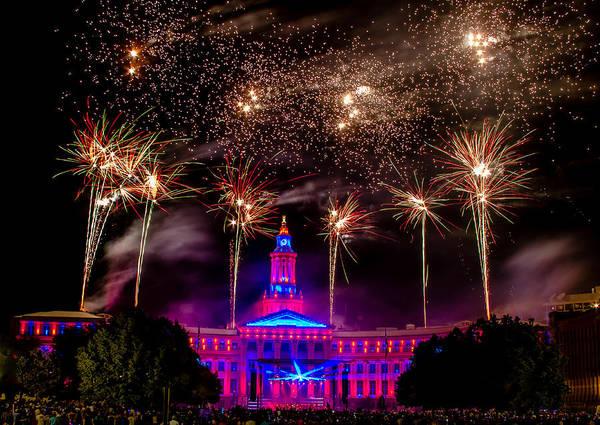 Photograph - Denver Colorado Independence Eve Fireworks by Teri Virbickis