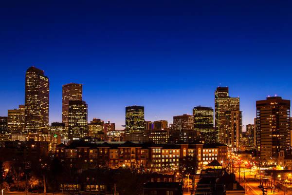 Photograph - Denver Colorado Night Skyline by Teri Virbickis