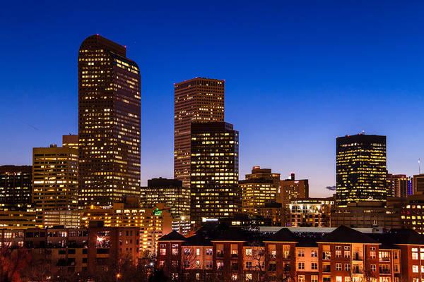 Denver Colorado Skyline At Blue Hour Mar 2013 Art Print