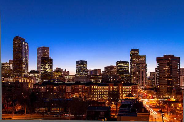 Photograph - Denver Colorado Skyline At Sunset by Teri Virbickis