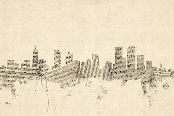 Colorado Digital Art - Denver Colorado Skyline Sheet Music Cityscape by Michael Tompsett
