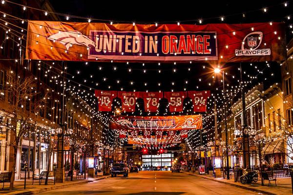Denver Larimer Square Nfl United In Orange Art Print