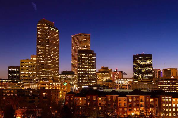 Photograph - Denver Skyline At Blue Hour Mar 2013 by Teri Virbickis