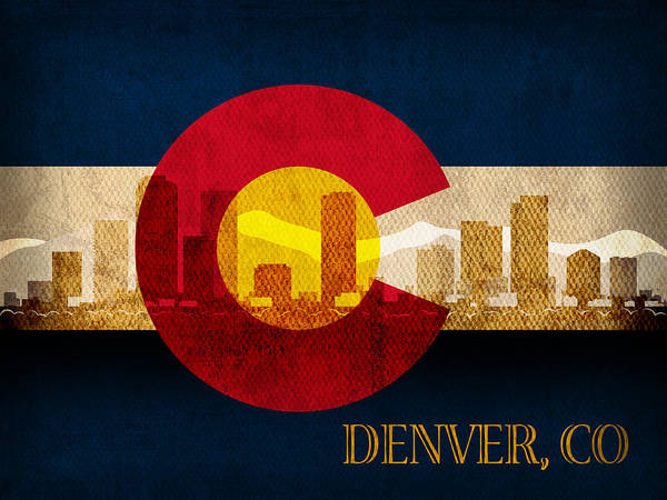 Wall Art - Mixed Media - Denver Skyline Silhouette Of Colorado State Flag Canvas by Design Turnpike
