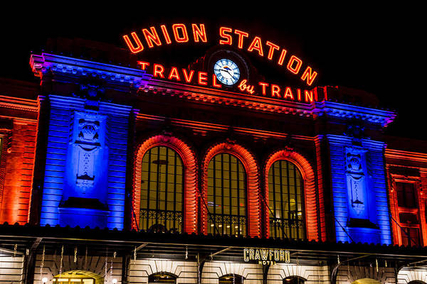 Photograph - Denver Union Station In Orange And Blue by Teri Virbickis