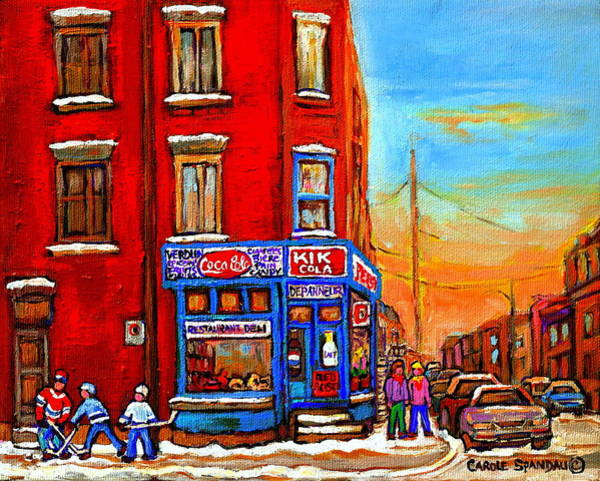Painting - Depanneur Marche Fruits Verdun Restaurant Smoked Meat Deli  Montreal Winter Scene Paintings  Hockey  by Carole Spandau