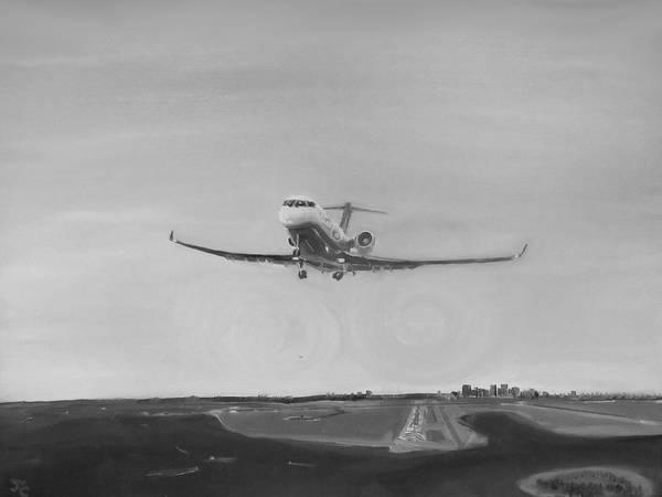Atc Painting - Departing Runway Nine Boston by Jon Castillo