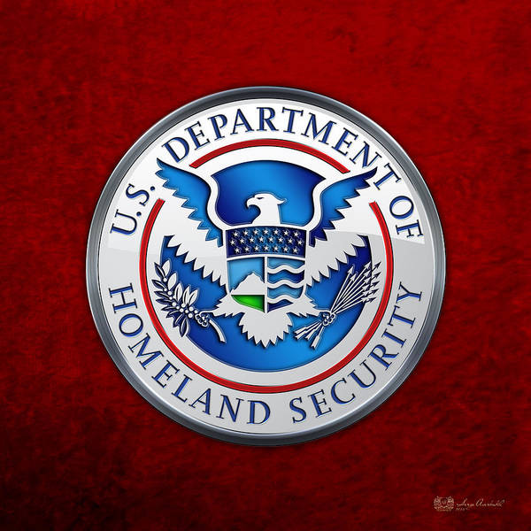 Digital Art - Department Of Homeland Security - D H S Emblem On Red Velvet by Serge Averbukh