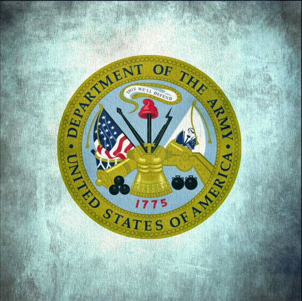 Department Of The Army Wall Art - Digital Art - Department Of The Army Seal On Canvas by Dan Sproul