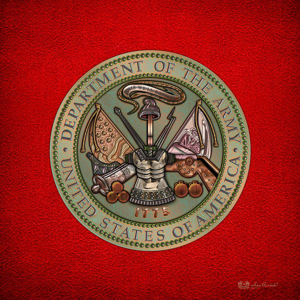 Department Of The Army Wall Art - Digital Art - Department Of The U. S. Army Bronze Seal by Serge Averbukh