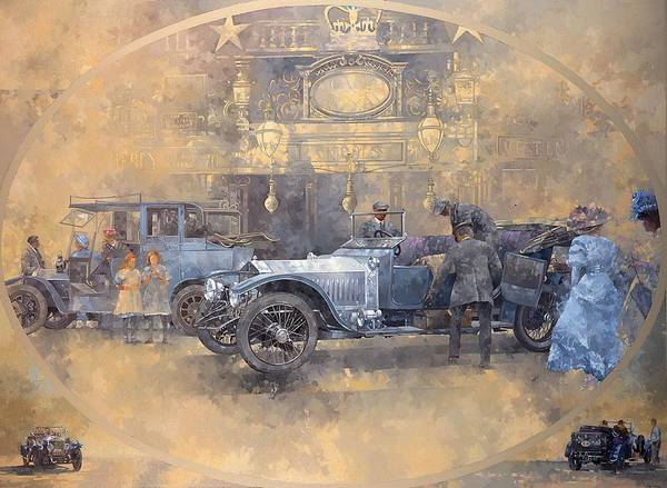 Motorcar Photograph - Departure For Christmas Oil On Canvas by Peter Miller