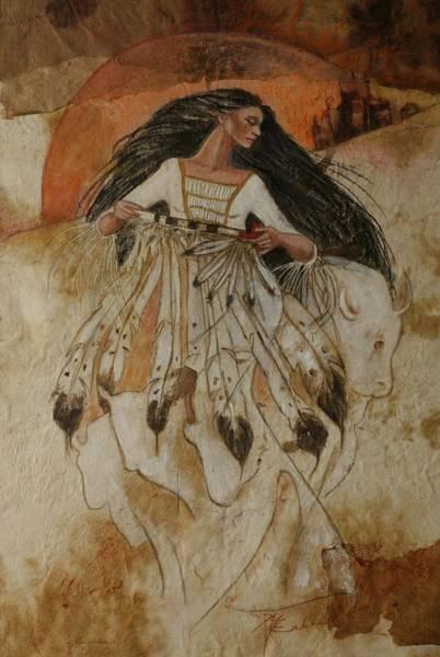 Departure Of White Buffalo Woman Art Print by Pamela Mccabe